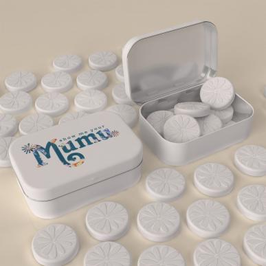personalised mints with flower logo embossed for fashion retailer